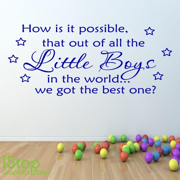 best little boy wall sticker quote - boys nursery kids wall art