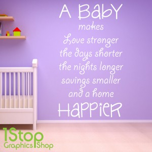 A BABY MAKES A HOME HAPPIER WALL STICKER