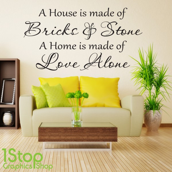A HOUSE IS MADE OF BRICKS AND STONE WALL STICKER QUOTE - WALL ART ...