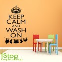 KEEP CALM AND WASH ON WALL STICKER