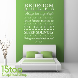 BEDROOM WALL STICKER QUOTE BEDROOM RULES WALL ART LOVE DECAL
