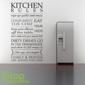 Kitchen Rules Wall Sticker Quote Kitchen Heart Home Wall Art Decal X326 1stopgraphicsshop