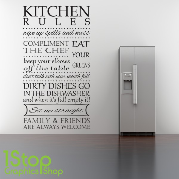 Kitchen Design Rules: KITCHEN RULES WALL STICKER QUOTE