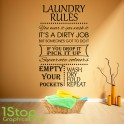 LAUNDRY RULES WALL STICKER QUOTE - KITCHEN HEART HOME LOVE WALL ART DECAL X328