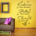 EMBRACE FOLLOW CHERISH WALL STICKER QUOTE - LOUNGE WALL ART LOVE DECAL X346