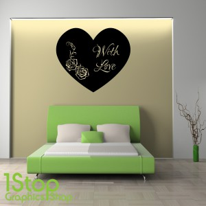 LOVE HEART WITH LOVE WALL STICKER