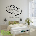 ME AND YOU LOVE HEART WALL STICKER QUOTE - LOVE HOME WALL ART DECAL X338