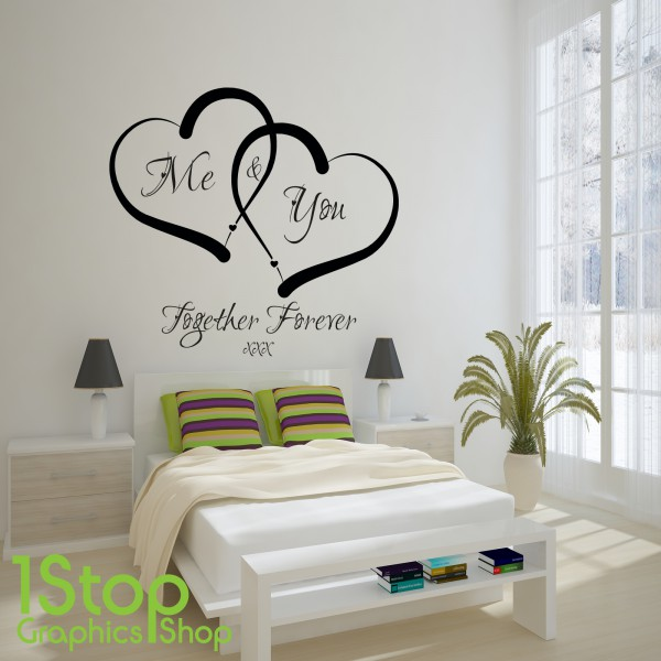 Me and you love heart wall sticker quote love home wall for Decor mural adhesif