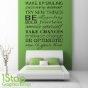 WAKE UP SMILING BEDROOM WALL STICKER QUOTE - LOVE WALL ART DECAL X354