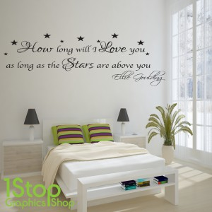 ELLIE GOULDING HOW LONG WILL I LOVE YOU WALL STICKER QUOTE   WALL ART DECAL  X83 Part 38