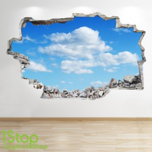 CLOUD FULL COLOUR WALL STICKER - BOYS GIRLS GRAPHIC C341