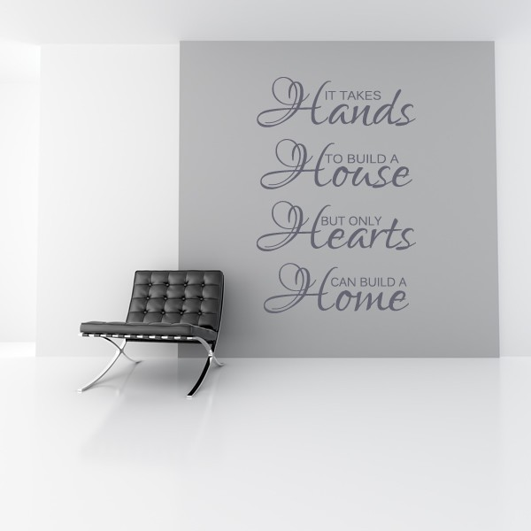 ... IT TAKES HANDS TO BUILD A HOUSE WALL STICKER QUOTE   HOME WALL ART  DECAL X71 ...