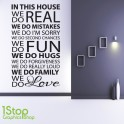 HOUSE RULES WALL STICKER QUOTE - HOME KITCHEN LOUNGE LOVE WALL ART DECAL X69