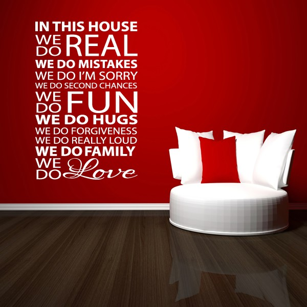 HOUSE RULES WALL STICKER QUOTE - HOME KITCHEN LOUNGE LOVE WALL ART ...