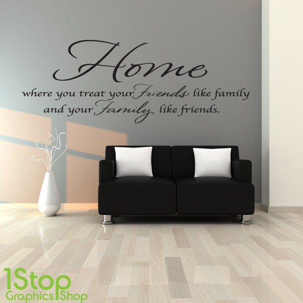 Home Friends Family Wall Sticker Bedroom Lounge Kitchen