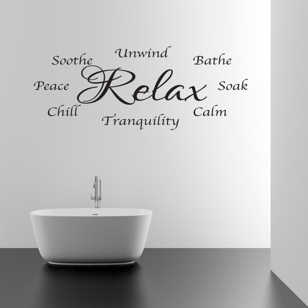 bathroom wall sticker relax and unwind wall art words love decal rh 1stopgraphicsshop co uk words for bathroom wall words for bedroom walls