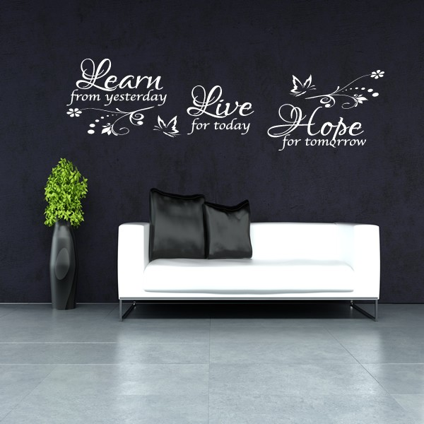 Learn Live Hope Wall Art Quote Sticker Lounge Bedroom