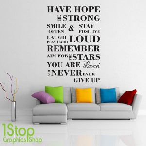 FAMILY LOVE HOPE WALL STICKER