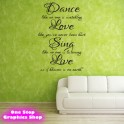 DANCE LOVE SING LIVE WALL ART QUOTE STICKER - LOVE DECAL ALWAYS KISS X11