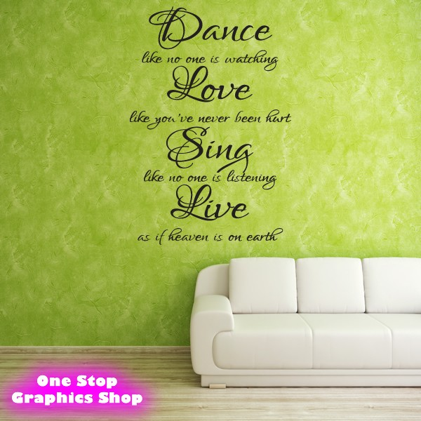 Us Stock Live Quote: DANCE LOVE SING LIVE WALL ART QUOTE STICKER