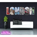 LONDON WALL STICKER FULL COLOUR - KITCHEN LOUNGE BACK DROP WALL ART DECAL C284