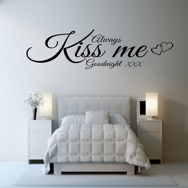... ALWAYS KISS ME GOODNIGHT WALL ART QUOTE STICKER   BEDROOM LOUNGE LOVE  DECAL 3 ... Part 26