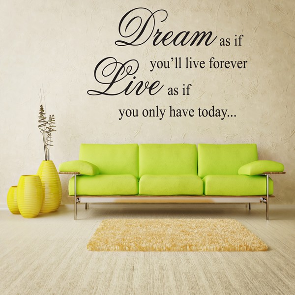 Us Stock Live Quote: DREAM LIVE WALL ART QUOTE STICKER