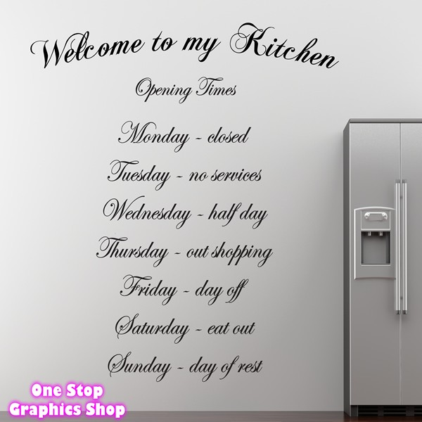 Welcome to my kitchen wall art quote sticker kitchen for Dining room quote decals