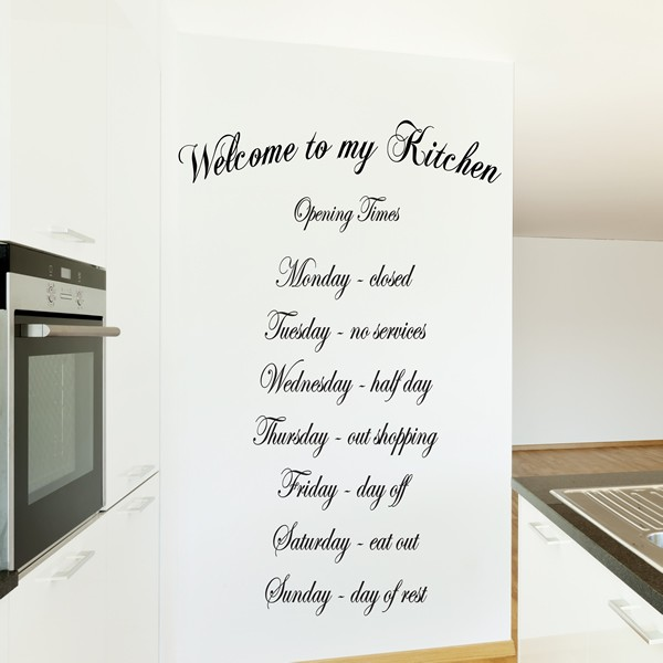 Welcome to my kitchen wall art quote sticker kitchen for Kitchen design quotes