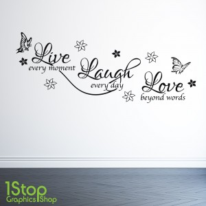 LIVE LAUGH KOVE WALL STICKER QUOTE X72