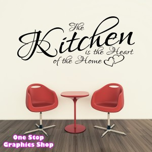 THE KITCHEN IS THE HEART OF THE HOME 3 WALL ART QUOTE STICKER B160