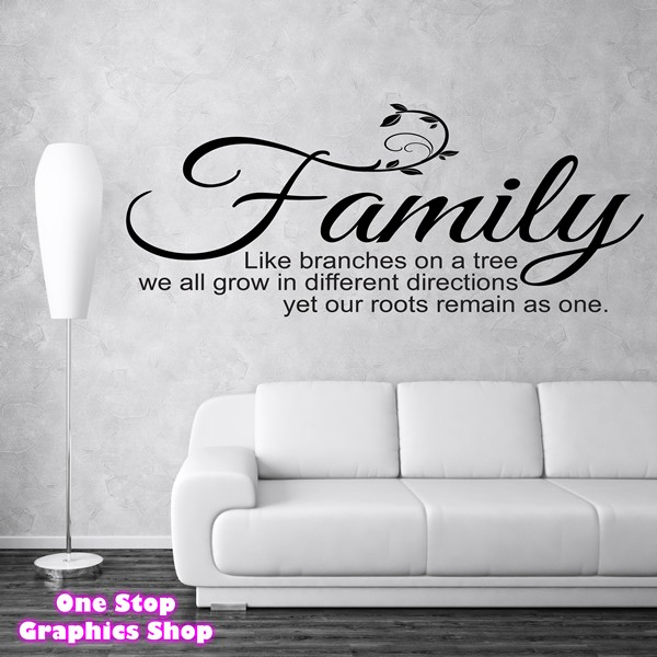 family like branches on a tree wall art quote sticker - bedroom