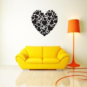 HEART OF HEARTS WALL ART STICKER BEDROOM LOUNGE LOVE