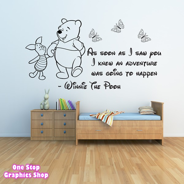 winnie the pooh wall sticker 3 - girls boys baby bedroom quote decal