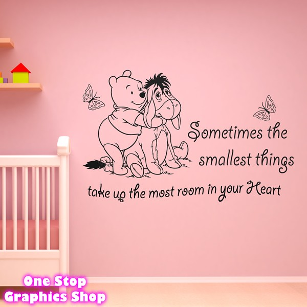 winnie the pooh wall art quote sticker girl boy kids unavailable listing on etsy