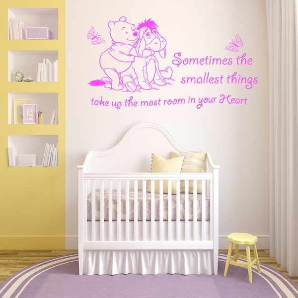 winnie the pooh wall art quote sticker girl boy kids winnie the pooh wall decal quote sometimes the smallest things