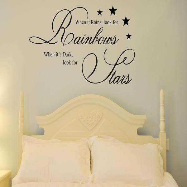 WHEN IT RAINS LOOK FOR RAINBOWS WALL ART QUOTE STICKER - BEDROOM ...