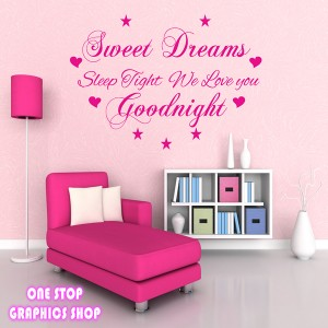sweet dreams wall art quote sticker bedroom kids baby childrens