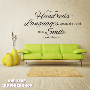 HUNDREDS OF LANGUAGES SMILE WALL STICKER