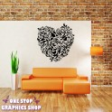 LOVE HEART FLOWER WALL ART STICKER - BEDROOM LOUNGE VINYL DECAL