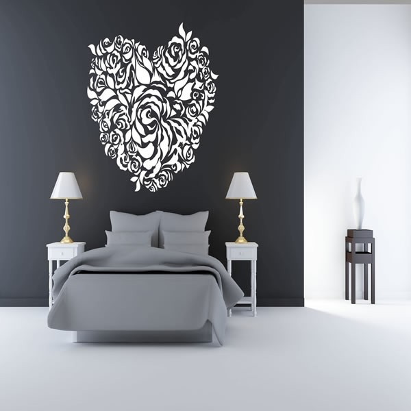 ... LOVE HEART FLOWER WALL ART STICKER ...