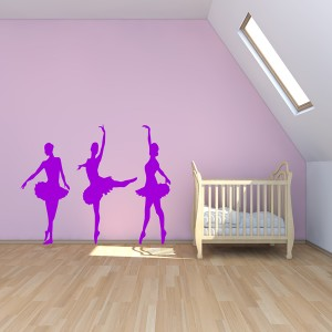3 BALLERINA WALL ART STICKER