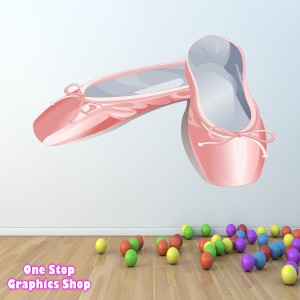 BALLET SHOES FULL COLOUR WALL STICKER