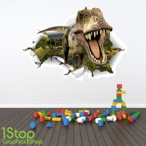 DINOSAUR FULL COLOUR D WALL STICKER BOYS GIRLS T REX GRAPHIC - 3d dinosaur wall decals