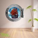 PIRATE SHIP PORTHOLE WALL STICKER - BEDROOM LOUNGE DECAL P2