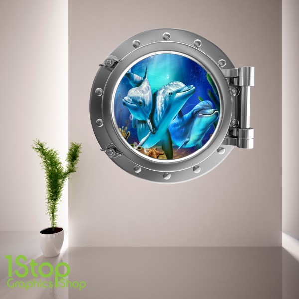 dolphin porthole wall sticker bedroom lounge sea decal dolphins forming a heart car window decal sticker