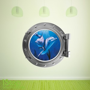 DOLPHIN PORTHOLE WALL STICKER - BEDROOM LOUNGE SEA DECAL P3