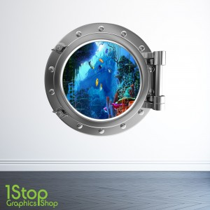 TROPICAL FISH PORTHOLE WALL STICKER