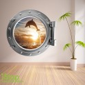 DOLPHIN PORTHOLE WALL STICKER - BEDROOM LOUNGE SEA DECAL P7