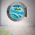 DOLPHIN PORTHOLE WALL STICKER - BEDROOM LOUNGE SEA DECAL P9